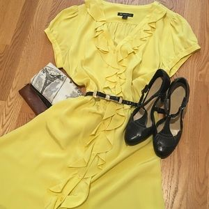 INC Bright Yellow Button up Dress